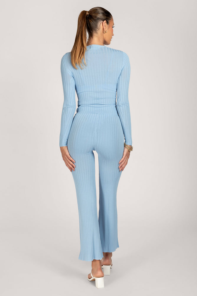 Tia Ribbed Sheer Knit Wide Leg Trousers - Cornflower Blue