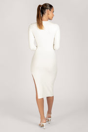 Kizzy Extreme Rib Crew Neck Midi Dress - White