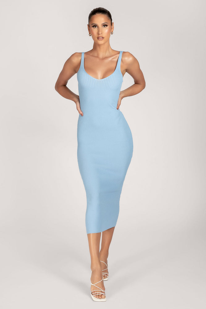 Henrietta Fitted Knitted Midi Dress - Cornflower Blue