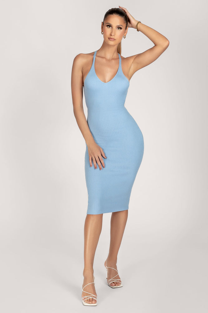 Honey Halter Knitted Midi Dress - Cornflower Blue