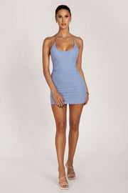 Krista Ruched Halter Back Mini Dress - Blue