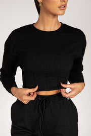 Hestia Panelled Cropped Jumper - Black