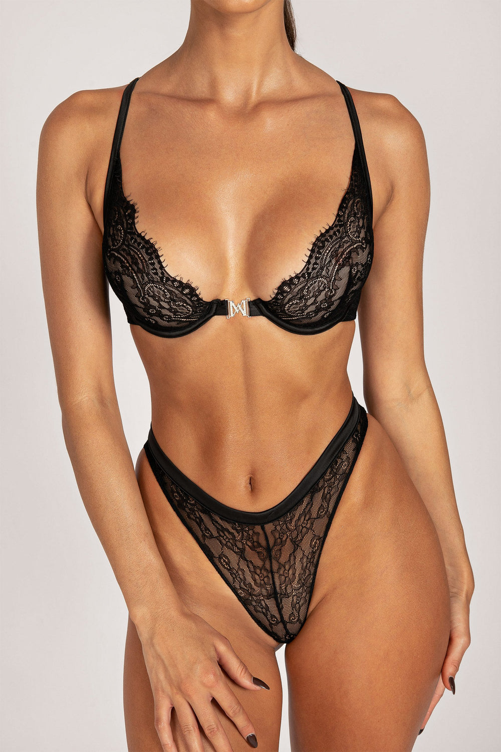 Stevie Lace Hardware Bra - Black