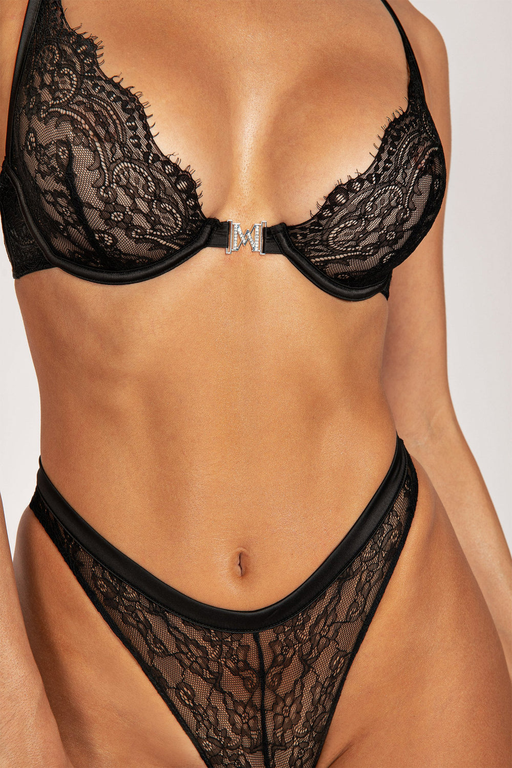 Stevie Lace Hardware Brief - Black