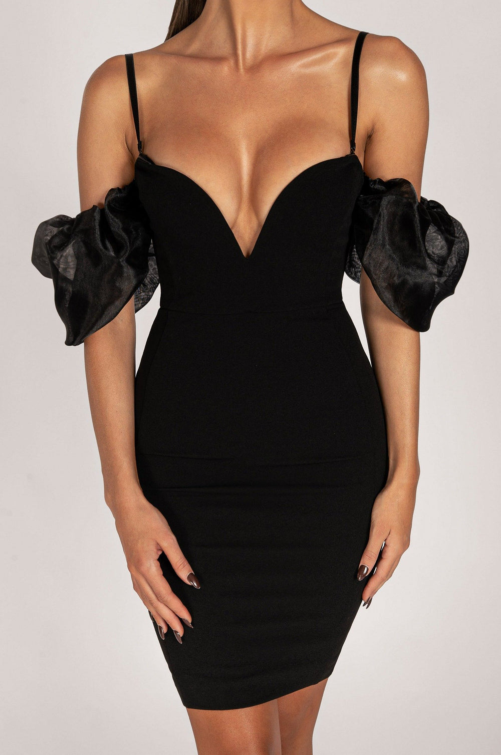 Corinne Off Shoulder Puff Sleeve Dress - Black