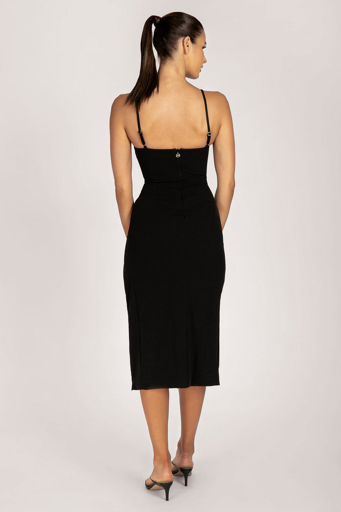 Rosie Asymmetric Midi Dress - Black