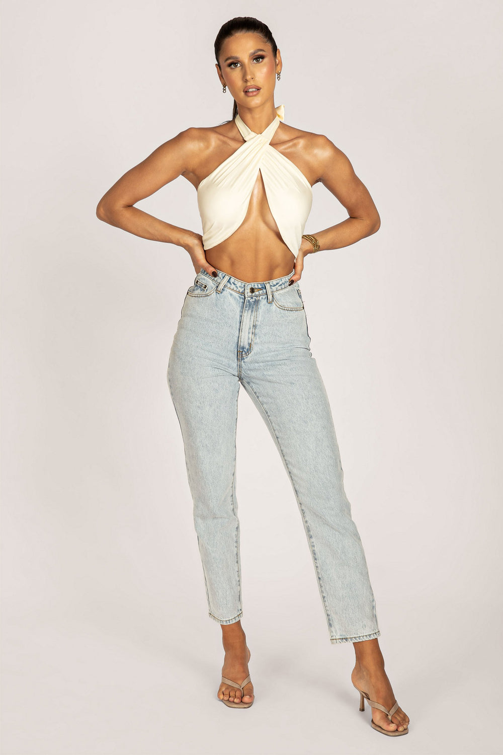Ines Wrap Halter Neck Crop Top - Cream