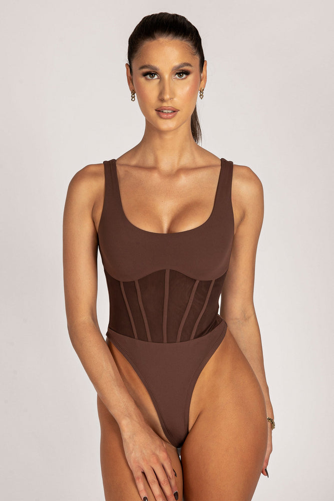 Iris Mesh Panel Sleeveless Bodysuit - Chocolate