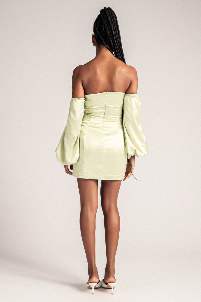Celina Off The Shoulder Long Puff Sleeve Mini Dress - Celery