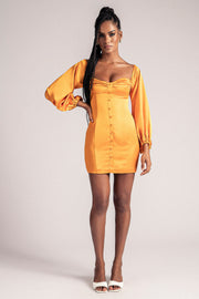 Celina Off The Shoulder Long Puff Sleeve Mini Dress - Tangerine