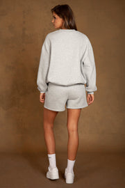 Heather Crew Neck Oversized Sweater - Grey Marle