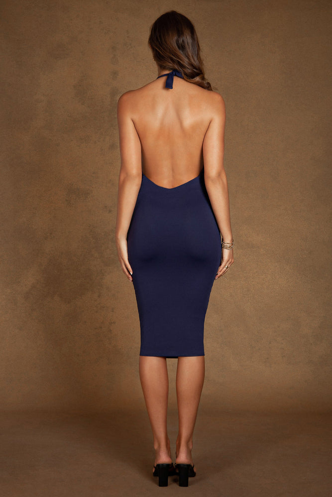 Electra Halter Low Back Midi Dress - Navy