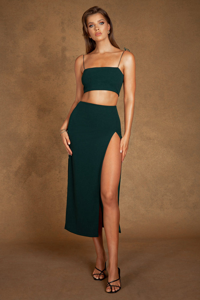 Annalee Crepe Square Neck Cami Top - Forest Green