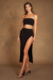 Annalee Crepe Square Neck Cami Top - Black