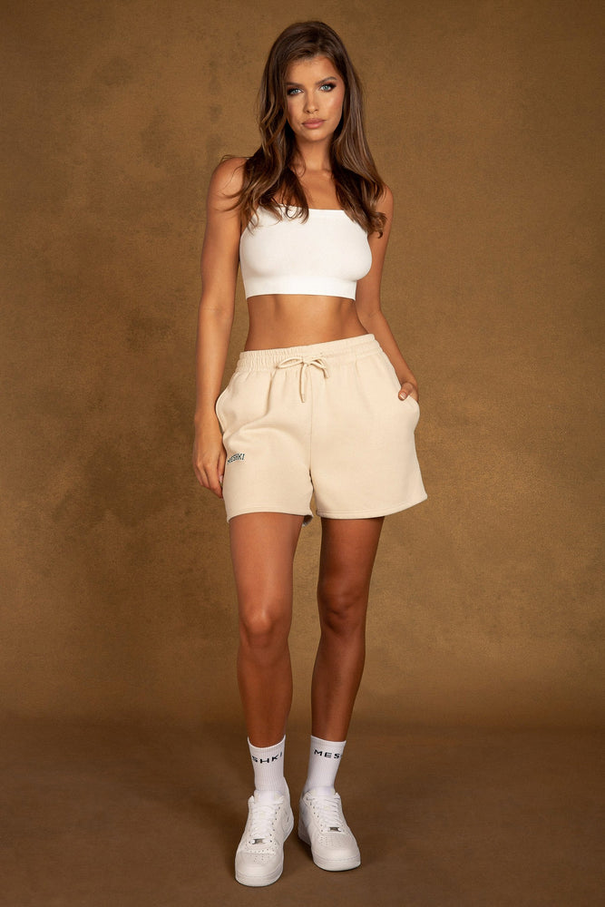 Abella Meshki Logo Fleeceback Shorts - Cream