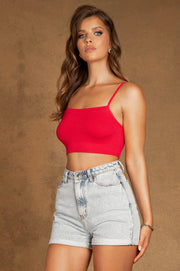 Alinta Ribbed Square Neck Bralette - Red