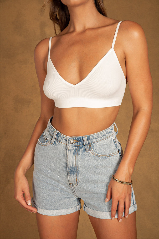 Daya Ribbed V Neck Bralette - White