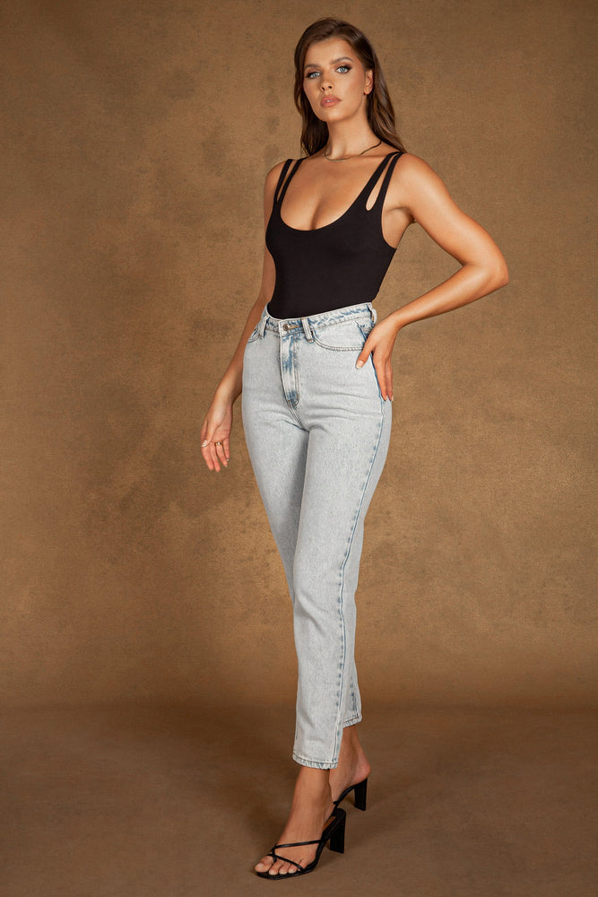 Millicent Plain Mom Jeans - Light Blue