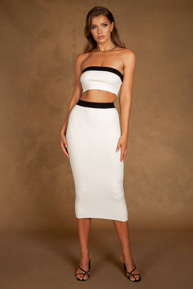 Zea Contrast Trim Bandeau Knitted Top - White