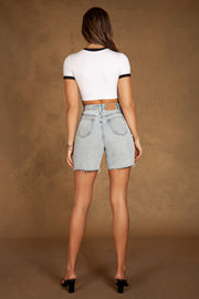 Abia Colourblock Trim Cuff Cropped Tee - White