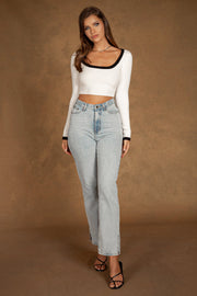 Zea Fully Fashioned Square Neck Crop Top - White