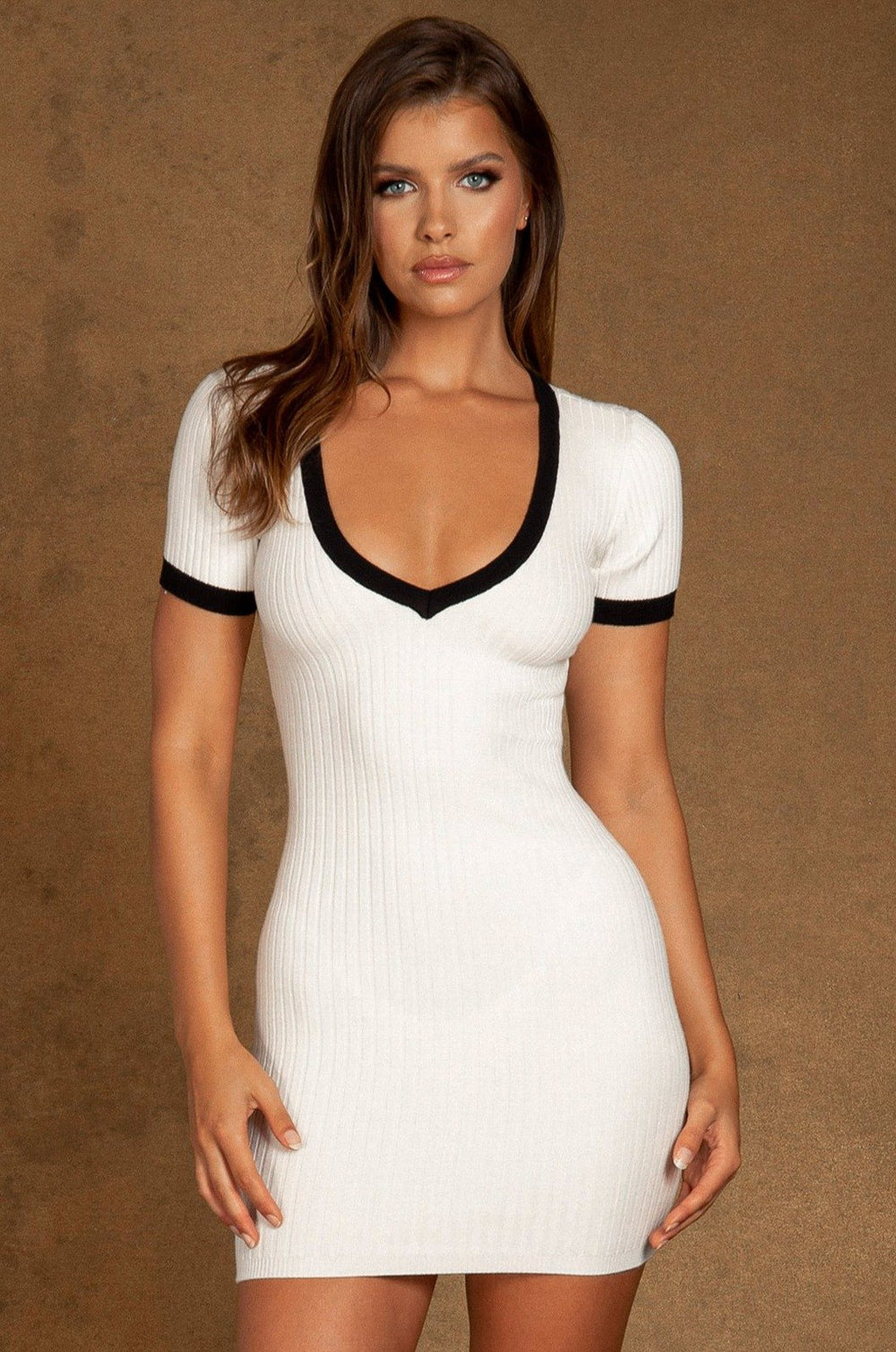 Zea Fully Fashioned V Neck Mini Dress - White