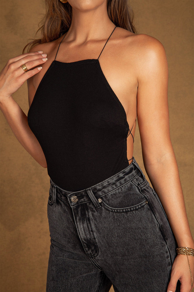 Yolanda Ribbed Cross Back Bodysuit - Black