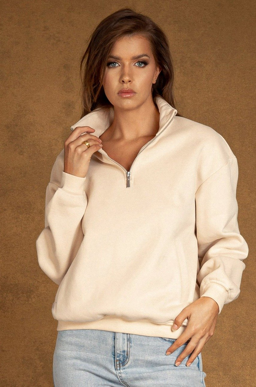 Carolina Half Way Zip Oversized Sweat - Cream