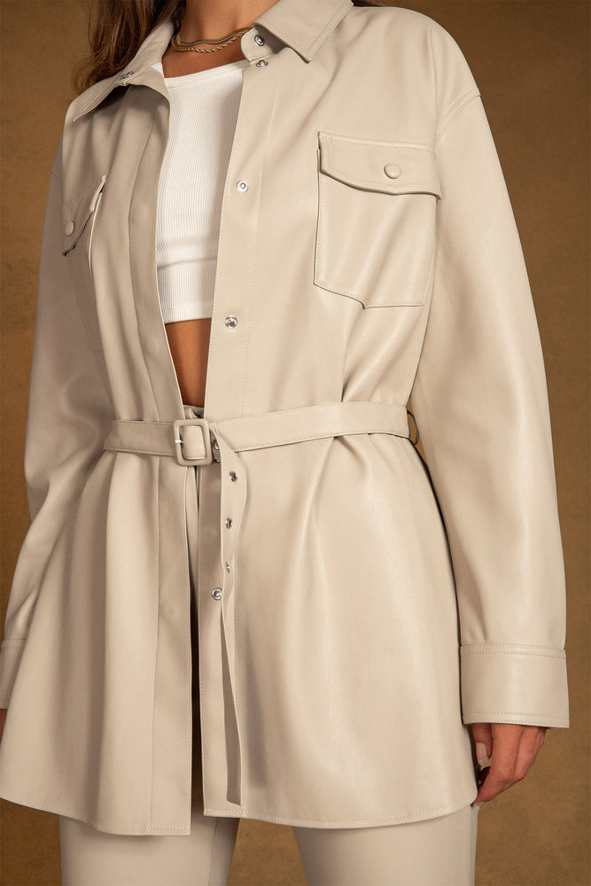 Tyra Faux Leather Belted Shirt - Nude