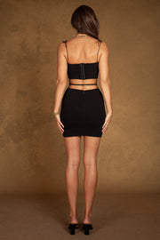 Celestia Crepe Waist Tie Mini Skirt - Black