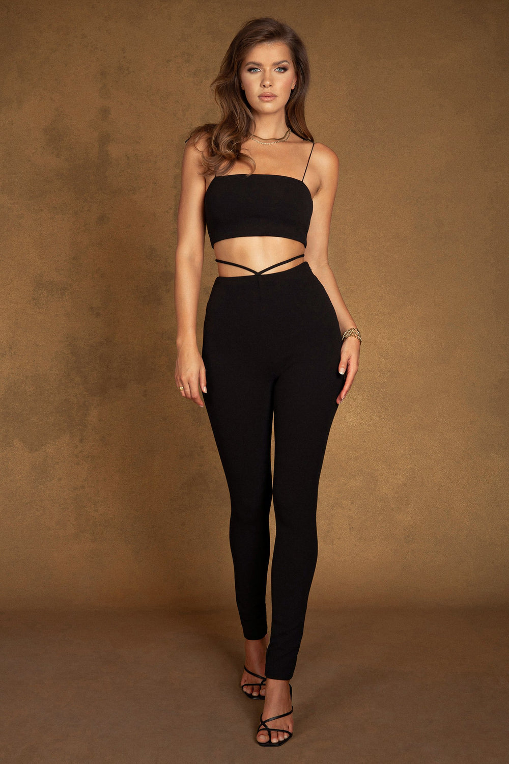 Celestia Cross Over Detail Leggings - Black