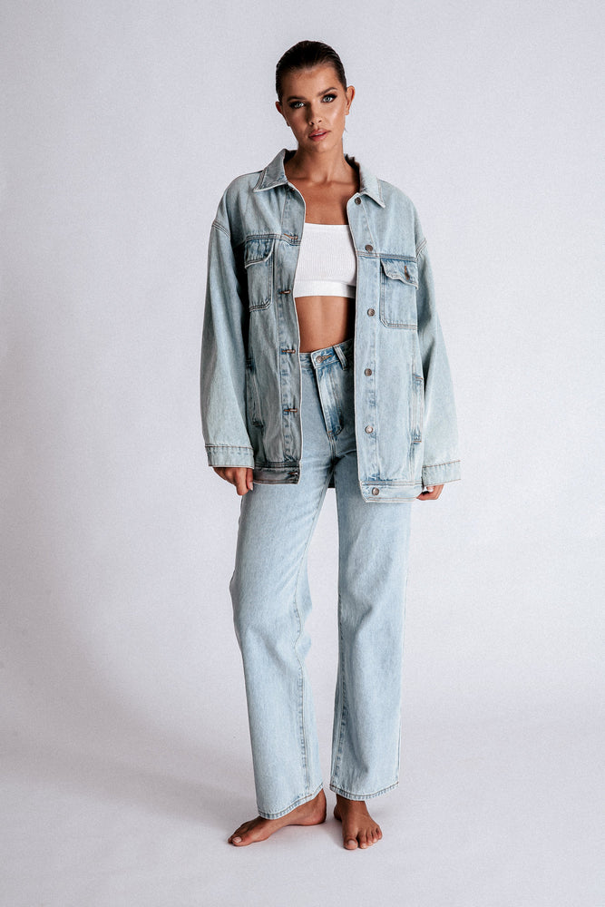 Hayden Oversized Boyfriend Denim Jacket - Light Blue