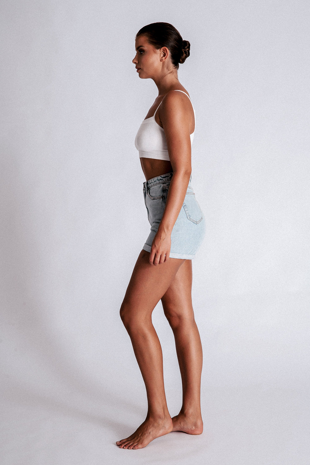 Verona Turn Up Hem Shorts - Light Blue