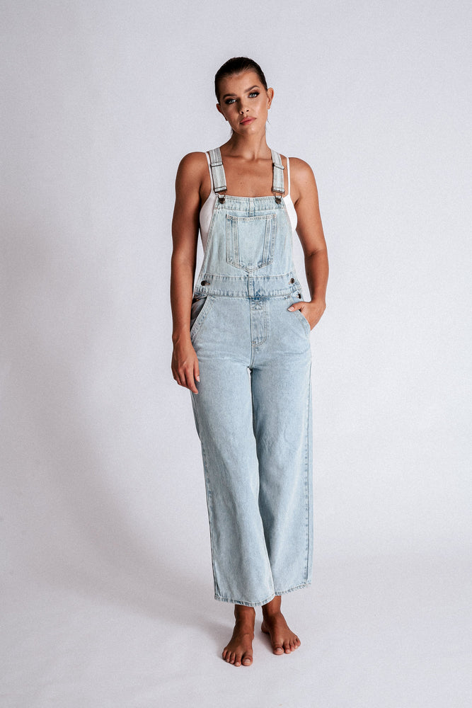 Janice Straight Leg Overalls - Light Blue