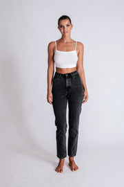 Millicent Plain Mom Jeans - Washed Black
