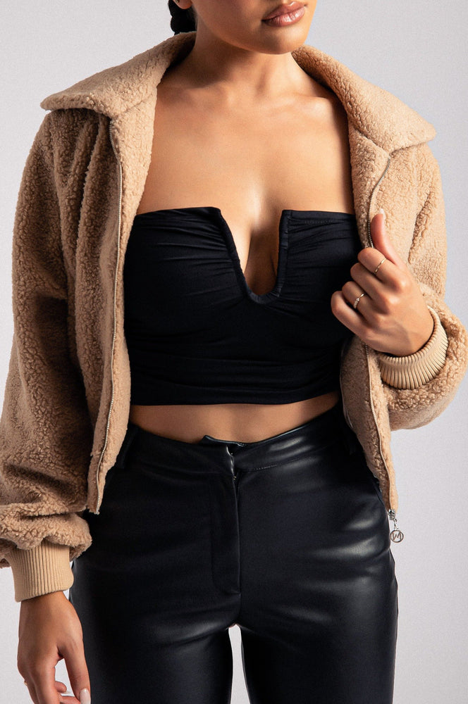 Camila Teddy Crop Jacket - Tan