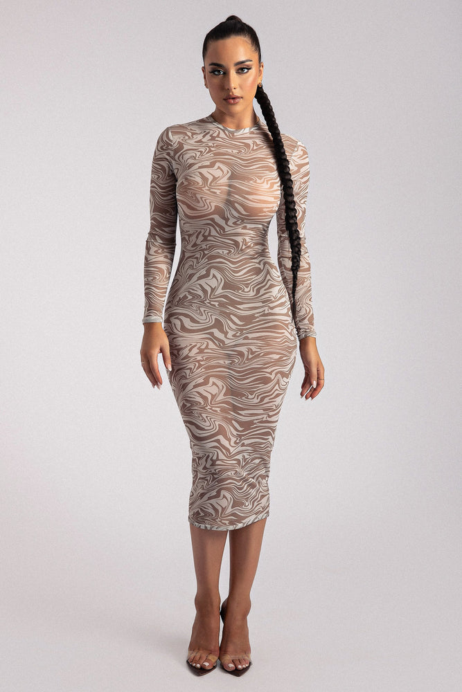 Bonnie Mesh Long Sleeve Midi Dress - Retrograde