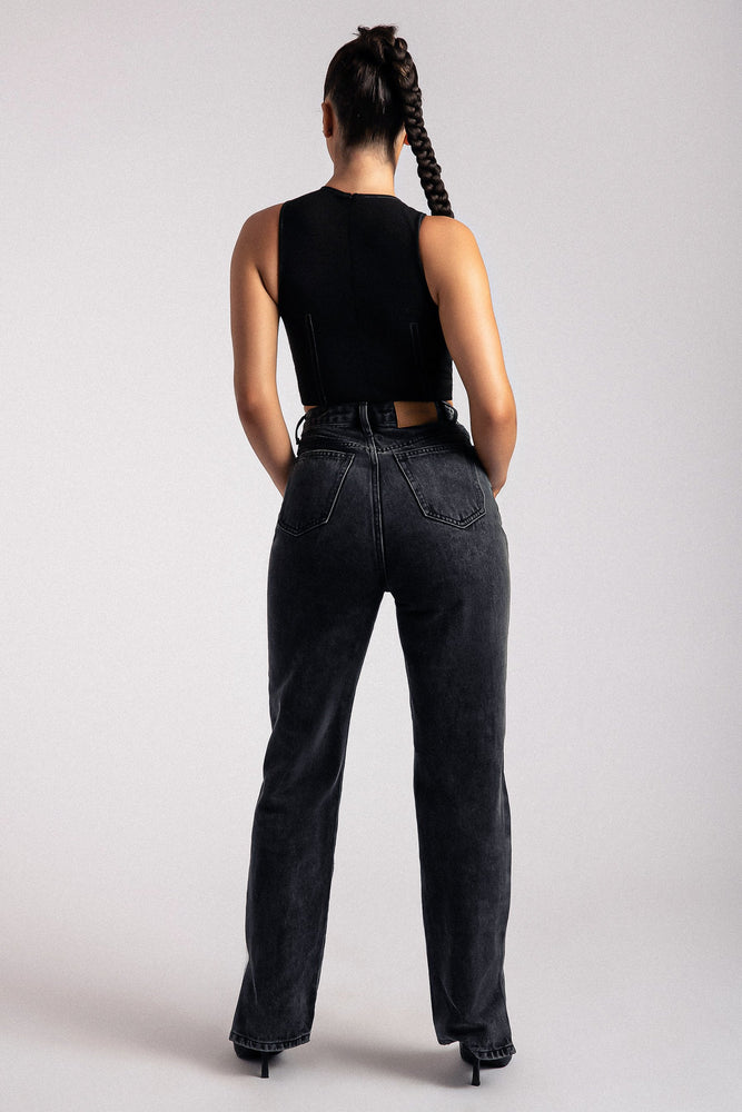 Marley Contrast Stitching High Neck Crop Top - Black