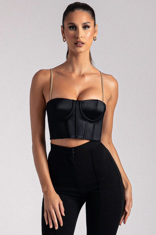 Alexina Chain Strap Corseted Bustier - Black