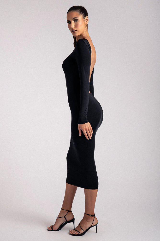 Cami Backless Long Sleeve Midi Dress - Black