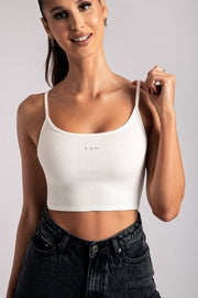 Leo Zodiac Crop Top - White