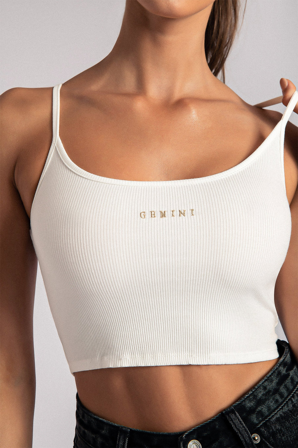 Gemini Zodiac Crop Top - White