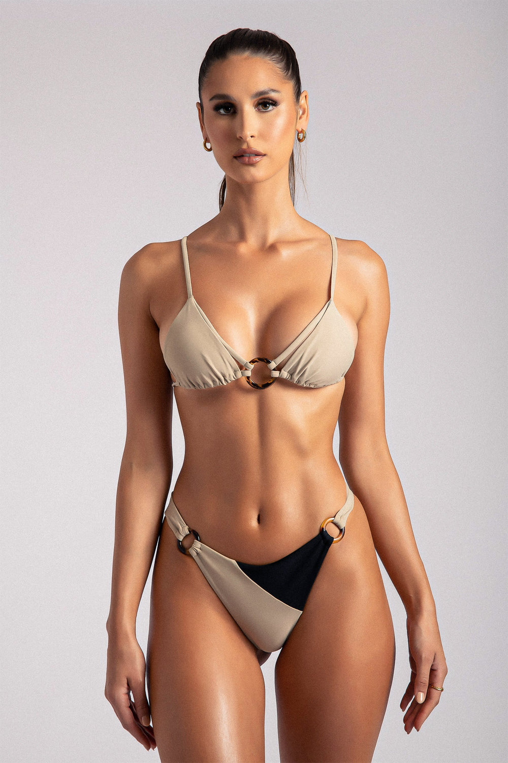 Clarissa O-Ring Triangle Bikini Top - Tan