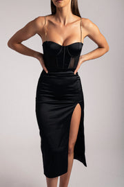 Talisa Chain Strap Side Split Corset Maxi Dress - Black