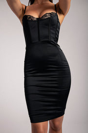 Antonella Corset Midi Dress- Black