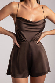 Kelsey Cowl Neck Playsuit - Chocolate