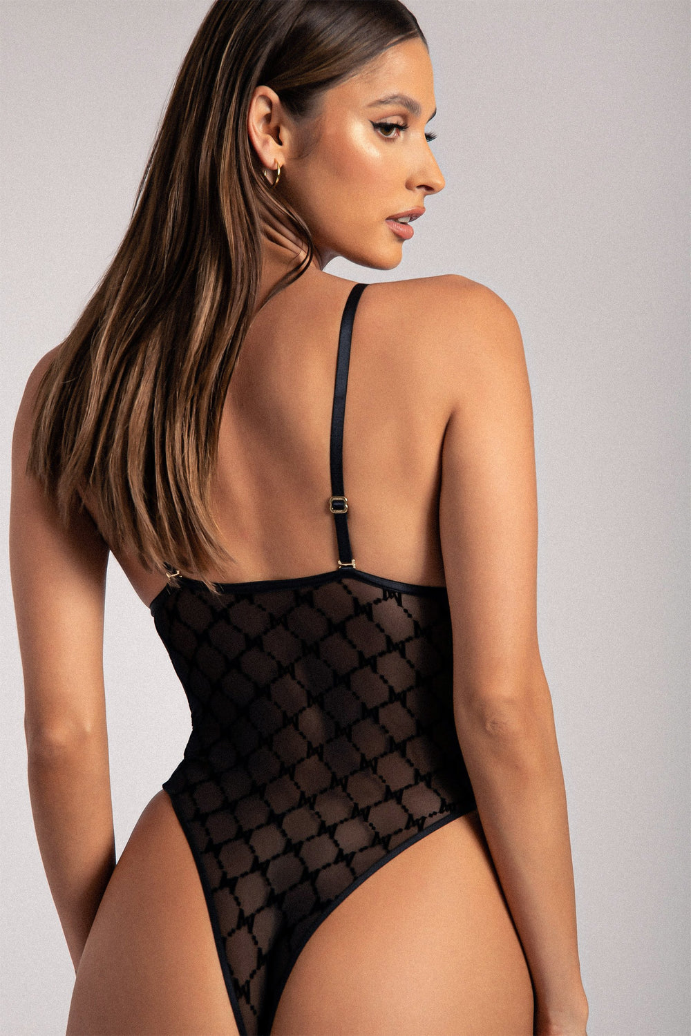 Millie Monogram Bodysuit - Black