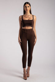 Sutton Corset Panel Trousers - Chocolate