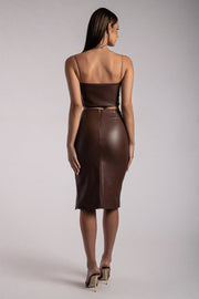 Palmer Pu Midi Skirt With Split - Chocolate