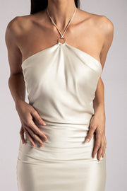Ivana Satin Halter Midi Dress- Sand